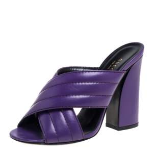Gucci Purple Leather Crisscross Mule Sandals Size 38.5