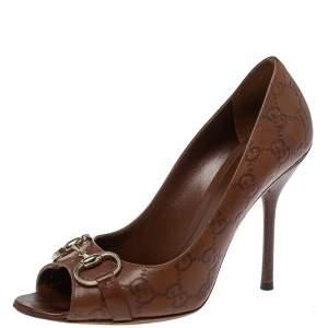 Gucci Brown Leather Horsebit  Pumps Size 40