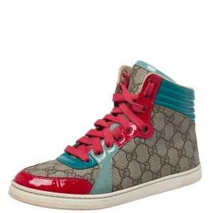 Gucci  Multicolor GG Canvas And Patent Leather High Ankle Sneakers Size 36