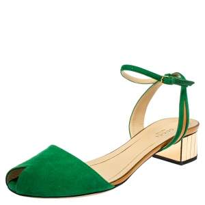Gucci Green Suede and Leather Ankle Strap Sandals Size 39.5