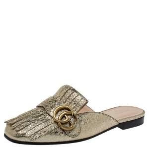 Gucci Gold Foil Leather Marmont Kiltie GG Fringe Mules Size 37