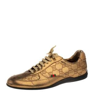 Gucci Gold Guccissima Leather Low Top Sneakers Size 39
