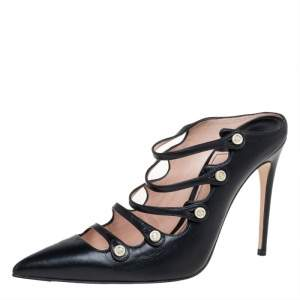 Gucci Black Leather Aneta Strappy Pointed Mules Size 37.5