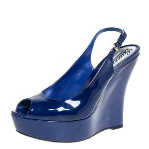 Gucci Blue Patent Leather Wedge Slingback Sandals Size 39