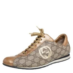 Gucci Gold/Beige GG Canvas And Leather Low Top Sneakers Size 41