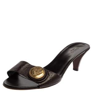 Gucci Brown Guccissima Leather Hysteria Slide Sandals Size 37