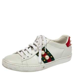 Gucci White Leather Pearl Embellished Studded Ace Sneakers Size 36.5