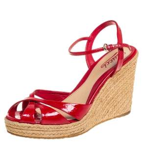 Gucci Red Micro Guccissima Patent Leather Ankle Strap Wedge Platform Sandals Size 40