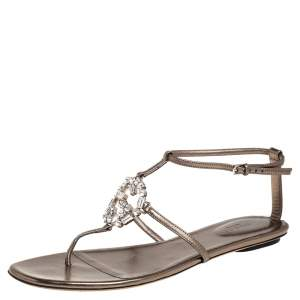 Gucci Metallic Bronze Leather Crystal Embellished GG Thong Flat Sandals Size 39.5