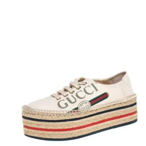 Gucci Cream Canvas Logo Platform Espadrilles Size 36.5