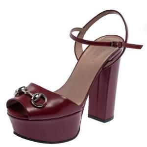 Gucci Burgundy Leather  Horsebit Ankle Wrap Sandals Size 35.5