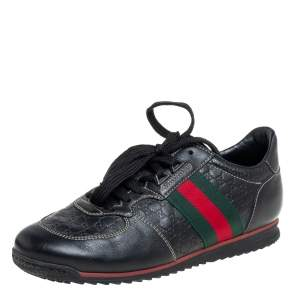 Gucci Black Guccissima Leather Web Detail Low Top Sneakers Size 38