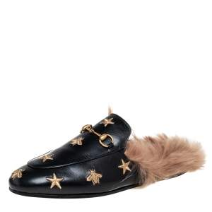 Gucci Black Leather And Fur Lined Bee And Star Embroidered Horsebit Princetown Flat Mules Size 39