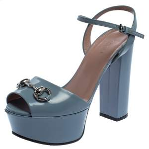 Gucci Blue Leather Claudie Horsebit Peep Toe Platform Sandals Size 35