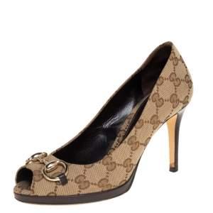 حذاء كعب عالي غوتشي نيو هوليوود مقدمة مفتوحة مزين هورسبيت كانفاس جي جي بيج مقاس 36