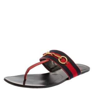 Gucci Red Leather And Web Horsebit Thong Flats Size 38.5