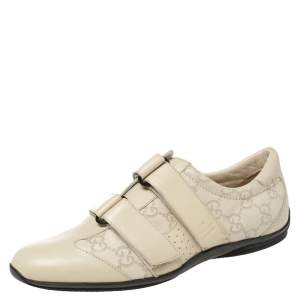 Gucci Cream Guccissima Leather Velcro Sneakers Size 36