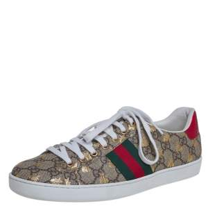 Gucci Multicolor GG Supreme Canvas Ace Bee Sneakers Size 40