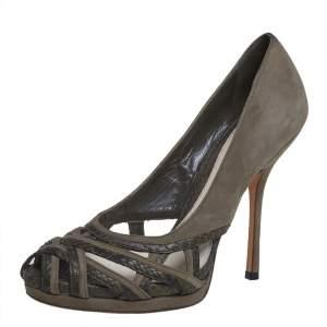 حذاء كعب عالى غوتشى مقدمة مفتوحة جلد ثعبان وسويدى أخضر مقاس 37