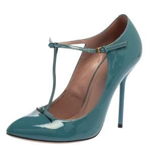 حذاء كعب عالى غوتشى سير حرف تى جلد لامع أزرق مقاس 37