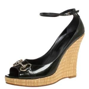 Gucci Dark Green Patent Leather Horsebit Wedge Sandals Size 41