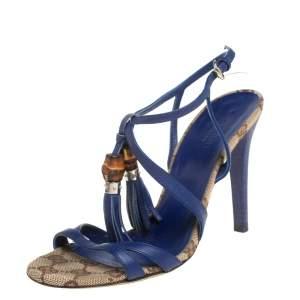 صندل غوتشي بامبو جلد أزرق بشراشيب مقدمة مفتوحة بحزام للكاحل مقاس 35.5