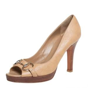 حذاء كعب غوتشي مزين هورسبيت مقدمة مفتوحة نعل سميك جلد غوتشيسيما بيج مقاس 40.5