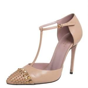 حذاء كعب عالي غوتشي كولين مرصع سير حرف تي جلد بيج مقاس 37.5