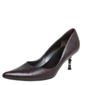 Gucci Dark Brown Guccissima Leather Kristen Bamboo Heel Pointed Toe Pumps Size 37