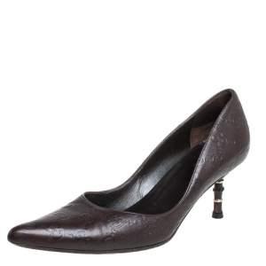 حذاء كعب عالي غوتشي كريستين كعب بامبو مقدمة مدببة جلد غوتشيسيما بني داكن مقاس 37
