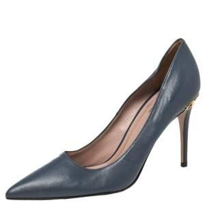 حذاء كعب عالي غوتشي ادينا مزين هورسبيت مقدمة مدببة جلد أزرق مقاس 36