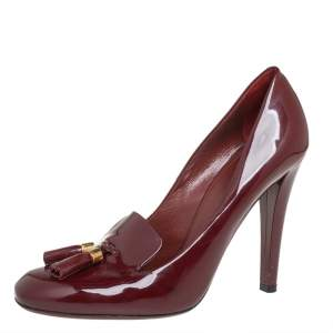 Gucci Burgundy Patent Leather Mischa Tassel Detail Pumps Size 39.5