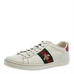 Gucci White Leather And Canvas Ace Sneakers Size 38