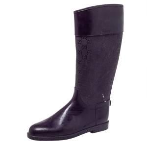 Gucci Purple GG Embossed Rubber Rain Boots Size 41