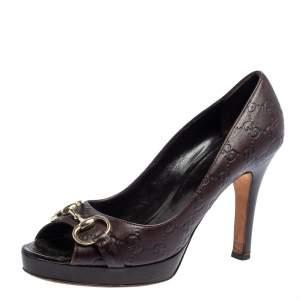 حذاء كعب عالي غوتشي نيو هوليوود مزين هورسبيت مقدمة مفتوحة جلد غوتشيسيما بني مقاس 41