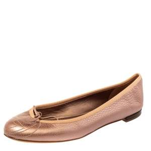 Gucci Metallic Pink Leather Soho Ballet Flats Size 38.5