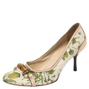 Gucci White Canvas And Leather Floral Print Bamboo Horsebit Pumps Size 41