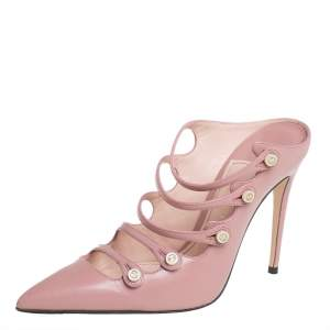 Gucci Pink Leather Aneta Strappy Pointed Toe Mules Size 35