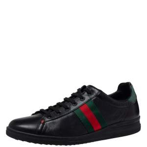 Gucci Black Leather Web Ace Low Top Sneaker Size  39