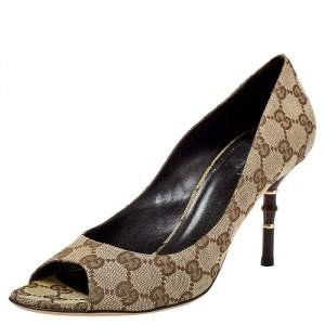 Gucci Brown/Beige GG Canvas Bamboo Heel Open Toe Pumps Size 39