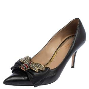 Gucci Black Leather Embellished Bow Queen Margaret Pumps Size 39