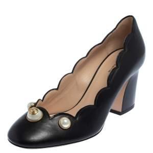 Gucci Black Leather  Pearl Embellished Block Heel Pumps Size 36