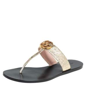 Gucci Gold Leather GG Tong Flats Sandal Size 37