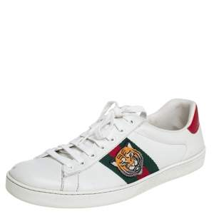 Gucci White Leather Web Ace Sneakers Size 43.5