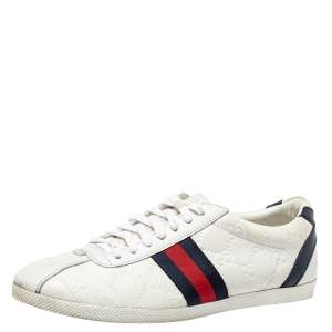 Gucci White Guccissima Leather Lace Up Sneakers Size 37.5