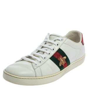 Gucci White Leather Ace Low-Top Sneakers Size 37.5