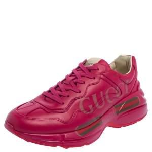 حذاء رياضي غوتشي ريتون جلد وردي بعنق منخفض مقاس 36