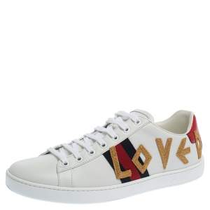 Gucci White Leather Loved New Ace Low Top Sneakers Size 41