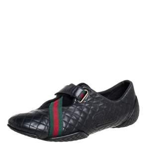 حذاء رياضى غوتشى منخفض من أعلى شريط جلد مبطن أسود مقاس 37