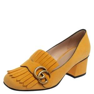 Gucci Yellow Suede GG Marmont Fringe Block Heel Pumps Size 36